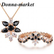 Луксозен комплект бижута - КАТАЛИНА , 18К розово златно покритие