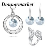 Бижута с кристали на Swarovski - FANTASY Rivoli Blue Shade  колие, обеци и пръстен