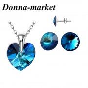 Бижута с кристали на Swarovski - HEART , Bermuda Blue