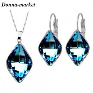 Бижута с кристали на Swarovski - LEMON , Bermuda Blue
