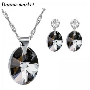 Бижута с кристали на Swarovski® - OVAL , Silver Night & Crystal