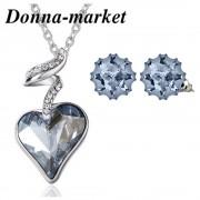 Бижута с кристали на Swarovski® - BLUE LOVE , колие и обеци