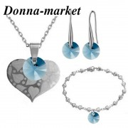Бижута с кристали на Swarovski - SILVER HEART ,  Denim Blue  колие,обеци и гривна