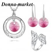 Бижута с кристали на Swarovski - FANTASY Rivoli Rose ,колие, обеци и пръстен
