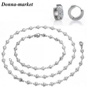 Ланец ,гривна и обеци от стомана - ОБИЧ , silver