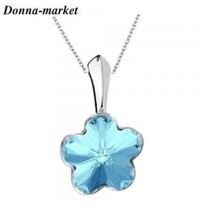 Колие - MINI FLOWER blue , кристали на Swarovski