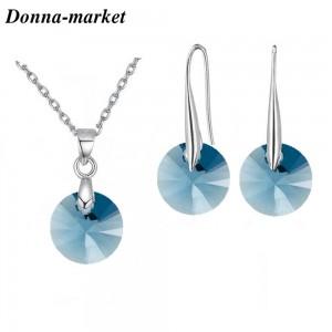 Комплект Бижута Сваровски - Denim Blue Swarovski Crystal 8mm