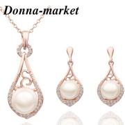 Комплект бижута - АЛЕКСА ,18 K розово злато и синт.перла
