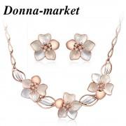 Луксозен комплект бижута - DONATELLA  бял емайл,седеф и Австрийски кристали