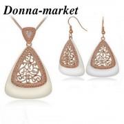 Луксозен комплект бижута - DALILA , 18К розово злато и емайл