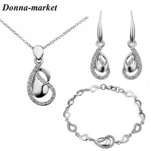 Комплект бижута - РОБЕРТА silver , колие,обеци и гривна
