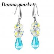 Обеци с кристали на Swarovski - Grazia , Teardrop Light Turquoise