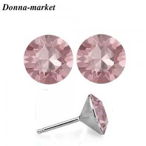 Обеци - CHATONS LIGHT ROSE , кристали на Swarovski
