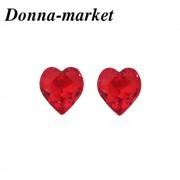 Обеци - HEART,red с кристали на Swarovski