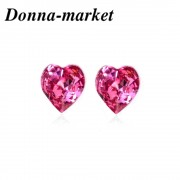 Обеци - HEART,rose с кристали на Swarovski