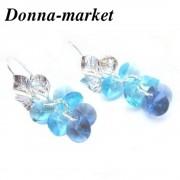 Обеци с кристали на Swarovski - FLOWER * SUMMER  Light Turquoise