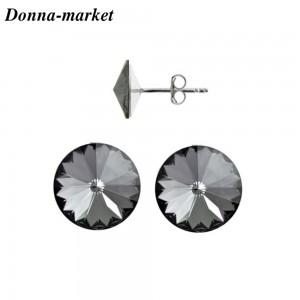Обеци с кристали на Swarovski - RIVOLI , Silver Nigt 10mm