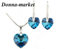 Бижута SWAROVSKI Big Heart Bermuda Blue , Колие и обеци 18mm , 14mm