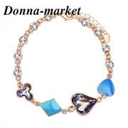 Луксозна гривна - HEART IN BLUE , кристали на Swarovski