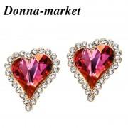 Обеци - LOVE HEART , с кристали на Swarovski
